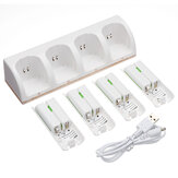 White Charger Dock Station for Wii Remote Controller + 4 x Rechargeable Battery