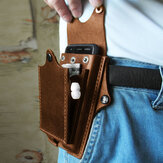 Men Genuine Leather Waist Bag Belt Bag 6.3inch Phone Bag Easy Carry Bag For Outdoor Travel