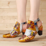 SOCOFY Snakeskin Grain Splicing Genuine Leather Vintage Flowers Pattern Buckle Strap Heeled Sandals