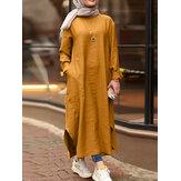 Mujer Color sólido O-cuello Manga larga Dividida Túnica Kaftan Casual Maxi Vestido Con bolsillo