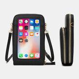 Multifunktionale große Kapazität mit Länge verstellbarer Touchscreen-Telefontasche mit PU-Lederband