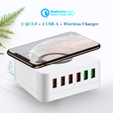 Bakeey 72W 6-Port USB Charger QC3.0 Quick Charge Desktop Charging Station 10W Wireless Charger For iPhone 11 SE 2020 For iPad Pro 2020 For Samsung Huawei