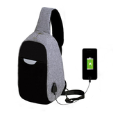 Mannen Externe USB-oplader Multi-Function Sling Bag Waterafstotende Anti Theft Bag voor Ipad