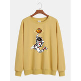 Mens Cotton Funny Astronaut Print Long Sleeve Pullover Drop Shoulder Casual Sweatshirts