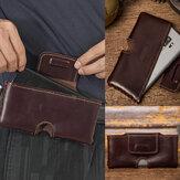 حزام جلد طبيعي للرجال مصنوع يدويًا 6.3 بوصة هاتف حقيبة صلبة اللون حقيبة حزام عادية يومية حقيبة خصر