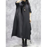 Women Cowl Neck Long Sleeve Casual Drawstring Hem Hooded Maxi Dresses
