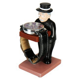 Creative Old Housekeeper Figurine Pattern Resin Watch Jewelry Display Stand Decoration with Sponge Pad