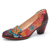 SOCOFY Vintage Butterfly Embossed Floral Leather Splicing Stitching Slip-on Chunky Heel Pumps