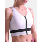 Zip Front Sports Bra Wireless Shockproof Full Coverage For Yoga Gym