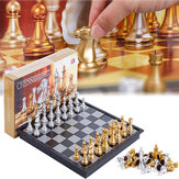 32PCS Medieval Chess Set With High Quality Chessboard Gold Silver Chess Pieces Magnetic Board Game Chess Figure Sets