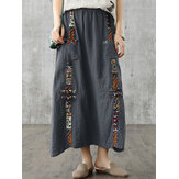 Women Retro Print Cotton Decorative Button Elastic Waist Casual Skirts