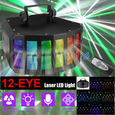 12-EYE RGB DMX Laser Scan Projector LED Stage Light remoto Strobe Disco DJ Lamp 110-220V