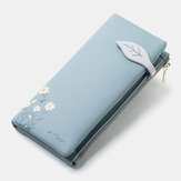 Femmes 13 emplacements pour cartes Bifold Flower Printed Long Wallet Clutches Bag