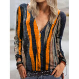 Women Colorful Stripe V-Neck Zip Front Casual Long Sleeve Blouses