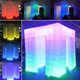110V 8,2ft zweitüriges mehrfarbiges LED aufblasbares Photo Booth-Gehäuse mit ferngesteuertem Luftzelt Hochzeitsfeier Weihnachten im Freien