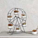 Fioriera succulenta Ruota panoramica Porta piante in ferro Set vasi da giardino per interni