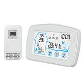 Bakeey Station météo sans fil Thermomètre à écran tactile Hygromètre Calendrier Réveil 7 Langues Capteur de prévisions intérieur extérieur