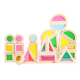 Kidpik 24PCS Wooden Rainbow Blocks Toys Construction Building Toy Set Stacking Blocks