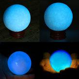 50mm Blue Glow In Dark Stone Luminous Pearl Quartz Crystal Sphere Ball Night Pearl