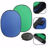 Groene / Blauwe 2-in-1 Achtergrond Paneel Pop-up Achtergrond Omkeerbare Opvouwbare Scherm