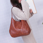 Women Retro Solid Large Capacity Tote Bag Shoulder Bag Handbag