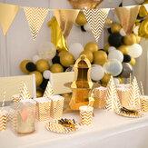ゴールドストライプシリーズ使い捨て食器セットパーティーパーティーの誕生日の結婚式の装飾のための紙皿