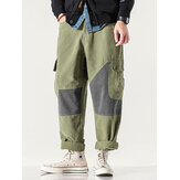 Mens Patchwork Zipper Fly Casual Cotton Cargo Pants With Pocket