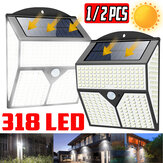 1X/2X 318LED Solar Light Infrared Motion Sensor Garden Security Wall Lamp for Outdoor Yard Patio