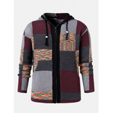 Mens Color Block Knitted Pocket Ethnic Style Sweater Hooded Cardigans