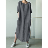 Women Cotton Solid Color Loose Half Sleeve Side Pockets Dress