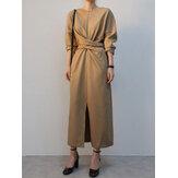 أنيقة الصلبة اللون فستان ماكسي تصميم الدانتيل المتقاطع حاشية طويلة الأكمام