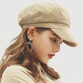 Womens Winter Corduroy Octagon Painter Beret Caps