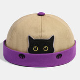 Banggood Design Heren Katoen Contrastkleur Cute Kitty Cat Pattern Casual Landlord Cap Skull Cap Beanie Hat