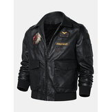 Mens Tribal Embroidery Eagle Head Badge Pocket Zipper Jaket Kulit PU Lengan Panjang