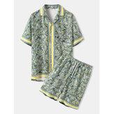 Mens Holiday Tropical Leaves Print Revere Collar Short Sleeve Shirs & Shorts