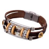 Retro vrouwen lederen Bangle Rhinestone Bead armband