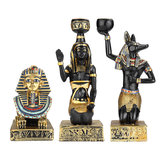 Resin Egyptian Figurine Candle Holder Anubis Vintage Statue Craft Home Decorations Gift