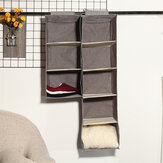 Minleaf Cotton Linen Hanging Closet Organizer Foldable Clothes Storage Bag