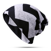 Stripe Slouchy Beanie Cap Scarf Outdoor Print Double Layer Cotton Turban Chapéu