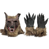 1 / 2PCS Latex Gummi Wolf Kopf Haar Maske Werwolf Handschuhe Party Scary Halloween Cosplay