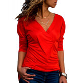 Women V-neck Pleated T-shirts