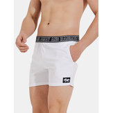 Mens Sport Solid Color Patchwork Letter Waistband Quick Dry Breathable Mid Waist Shorts