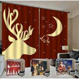 132 * 160 سنتيمتر عيد الميلاد المطبوعة الستائر ستائر التعتيم نافذة الستائر لغرفة المعيشة زينة عيد الميلاد