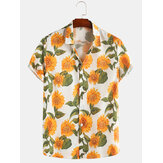 Sun Flower Print Turn Down Collar Manga curta Casual Camisas de férias