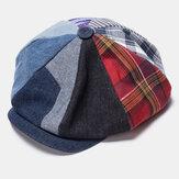 Cappello da berretto con cappuccio ottagonale alla moda casual cucito a strisce scozzese di colore patchwork uomo