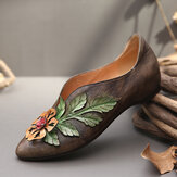 SOCOFY Retro Rainforest Splicing Floral Leaves Elegant Leather Comfy Flat Shoes