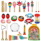 24PCS Musical Percussion Instrument Set,Toddler Musical Education Instruments Toys Wooden Percussion Toys and Rhythm Instruments for Girls Boys