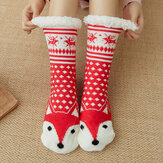 Women Warm Winter Outdoor Christmas Style Cartoon Animals Pattern Plus Velvet Thicken Home Sleep Socks Tube Socks