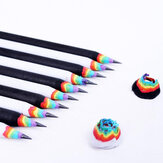 2B Rainbow Color Pencil White Black Shell Paper Material Drawing Supplies Cute Pencils for School Office