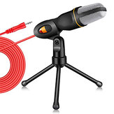 Bakeey Live Microphone Gaming Microphone  3.5mm Wired Microphone Stereo Condenser Mic with Holder Desktop Tripod for PC YouTube Video Skype Chatting Gaming Podcast Recording